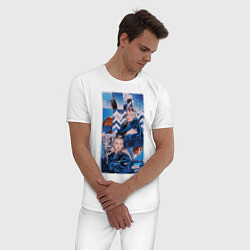 Пижама хлопковая мужская Billie Eilish: Art цвета белый — фото 2