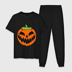 Пижама хлопковая мужская Хэллоуин тыква цвета черный — фото 1