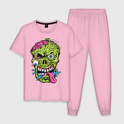 Пижама хлопковая мужская Scary mask цвета светло-розовый — фото 1