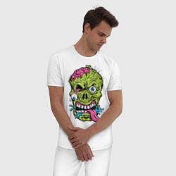 Пижама хлопковая мужская Scary mask цвета белый — фото 2