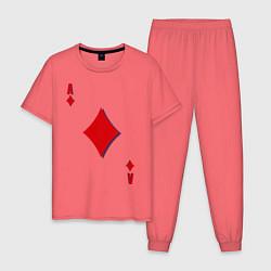 Пижама хлопковая мужская Бубновый туз цвета коралловый — фото 1