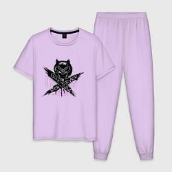 Пижама хлопковая мужская Ваканда цвета лаванда — фото 1