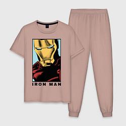 Пижама хлопковая мужская Iron Man цвета пыльно-розовый — фото 1