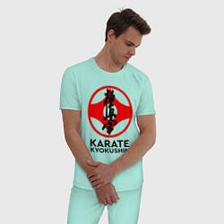 Пижама хлопковая мужская Karate Kyokushin цвета мятный — фото 2