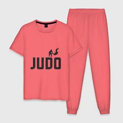 Пижама хлопковая мужская Дзюдо цвета коралловый — фото 1
