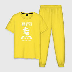 Пижама хлопковая мужская Wanted Mortis цвета желтый — фото 1