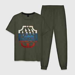 Пижама хлопковая мужская Escape from Tarkov BEAR цвета меланж-хаки — фото 1