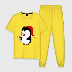 Пижама хлопковая мужская Новогодний пингвин цвета желтый — фото 1