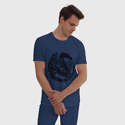 Пижама хлопковая мужская Кельтский дракон цвета тёмно-синий — фото 2