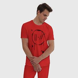 Пижама хлопковая мужская TWENTY ONE PILOTS TOP цвета красный — фото 2