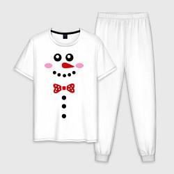Пижама хлопковая мужская Позитивный снеговичек цвета белый — фото 1