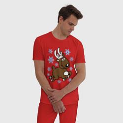 Пижама хлопковая мужская Олень и снежинки цвета красный — фото 2