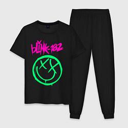 Пижама хлопковая мужская BLINK-182 цвета черный — фото 1