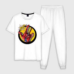 Пижама хлопковая мужская Spiderweb цвета белый — фото 1