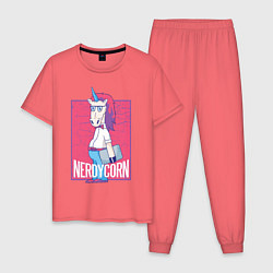 Пижама хлопковая мужская Умный Единорог цвета коралловый — фото 1