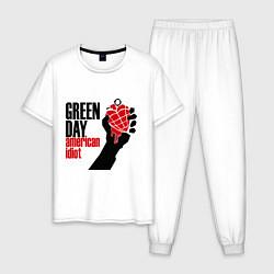 Пижама хлопковая мужская Green Day: American idiot цвета белый — фото 1