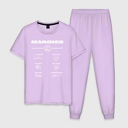 Пижама хлопковая мужская Rammstein: Autographs цвета лаванда — фото 1