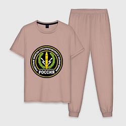 Пижама хлопковая мужская РВСН России цвета пыльно-розовый — фото 1