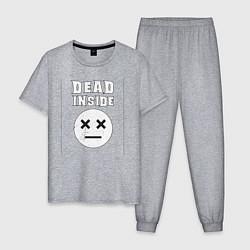 Пижама хлопковая мужская Dead inside цвета меланж — фото 1