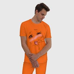 Пижама хлопковая мужская Ahegao Face цвета оранжевый — фото 2