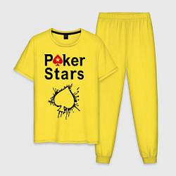 Пижама хлопковая мужская Poker Stars цвета желтый — фото 1