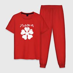 Пижама хлопковая мужская Чёрный клевер цвета красный — фото 1