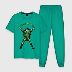 Пижама хлопковая мужская Riddle Me This! цвета зеленый — фото 1