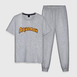 Пижама хлопковая мужская Aquaman цвета меланж — фото 1