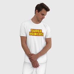 Пижама хлопковая мужская Super Powers цвета белый — фото 2