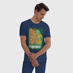 Пижама хлопковая мужская Время приключений Jake цвета тёмно-синий — фото 2