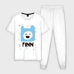 Пижама хлопковая мужская Время приключений Finn цвета белый — фото 1