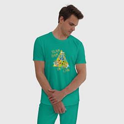 Пижама хлопковая мужская Slam Bam in a Can цвета зеленый — фото 2