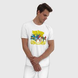 Пижама хлопковая мужская Super Friends, Justice League цвета белый — фото 2