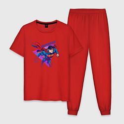 Пижама хлопковая мужская Superman цвета красный — фото 1