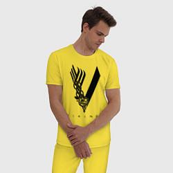 Пижама хлопковая мужская VIKINGS цвета желтый — фото 2