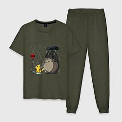 Пижама хлопковая мужская Тоторо под дождём цвета меланж-хаки — фото 1
