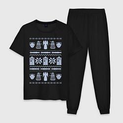 Пижама хлопковая мужская Доктор Кто цвета черный — фото 1