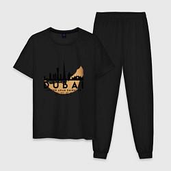 Пижама хлопковая мужская ОАЭ Дубаи цвета черный — фото 1