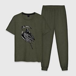 Пижама хлопковая мужская Жнец цвета меланж-хаки — фото 1