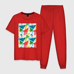 Пижама хлопковая мужская Минимализм цвета красный — фото 1