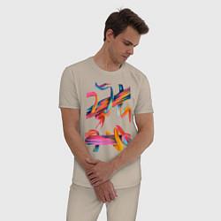 Пижама хлопковая мужская Извилины цвета миндальный — фото 2