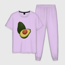 Пижама хлопковая мужская Авокадо цвета лаванда — фото 1