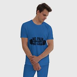 Пижама хлопковая мужская No pain, no gain цвета синий — фото 2