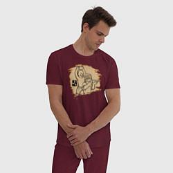 Пижама хлопковая мужская Stone punch цвета меланж-бордовый — фото 2