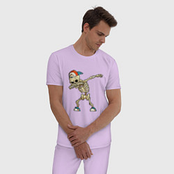 Пижама хлопковая мужская Dab Skeleton цвета лаванда — фото 2