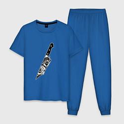 Пижама хлопковая мужская Нож В Цветах цвета синий — фото 1