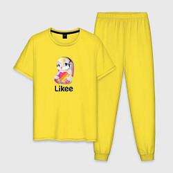 Пижама хлопковая мужская LIKEE: Like Video цвета желтый — фото 1