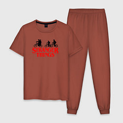 Пижама хлопковая мужская STRANGER THINGS цвета кирпичный — фото 1