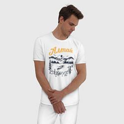 Пижама хлопковая мужская Алтай цвета белый — фото 2