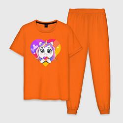 Пижама хлопковая мужская Единорог Likee цвета оранжевый — фото 1